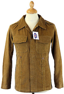 NEW MENS RETRO LENNON SHIRT JACKET MILITARY ARMY SHIRT JACKET Vintage Cord CAMEL