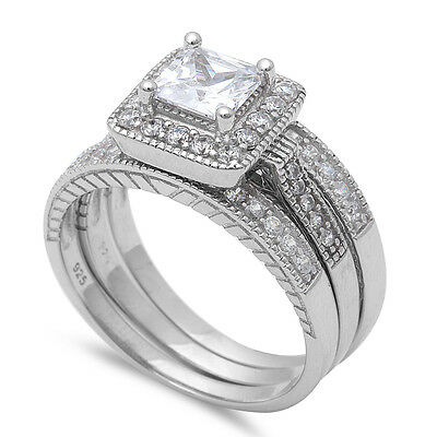 3 PIECE SET PRINCESS CUT SOLITAIRE WEDDING .925 Sterling Silver Ring Sizes 5-10