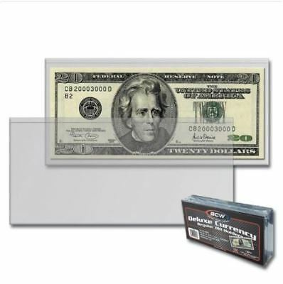 (100) BCW Deluxe Semi Rigid Regular Dollar Bill Currency Holders Standard Notes