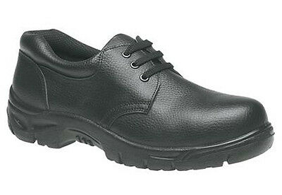 Mens New Black Leather Steel Toe Cap Safety Work Shoes / Boots Size 7 - 12