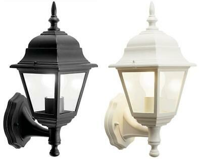 Outdoor 4 Sided Wall Lantern In Black Or White Without PIR Complete With Lamp