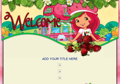 Shortcake N Strawberries Auction Template floral pink kids children SWEET