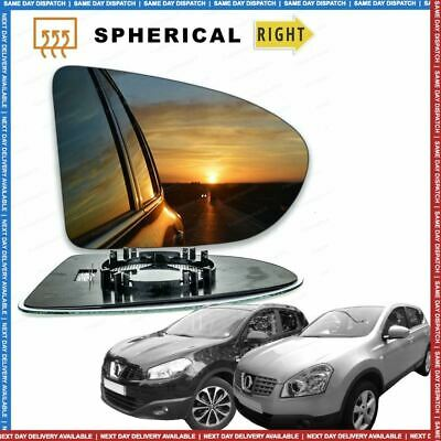 Right Driver side Convex Wing mirror glass for Nissan Qashqai 07-13 Heated