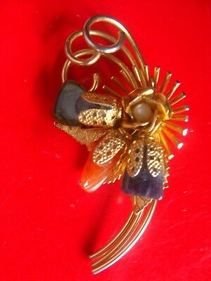 Vintage Brooch Pin Filigree with Genuine Stones  Beautiful