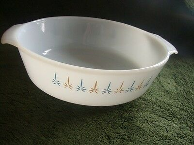 Vintage Anchor Hocking Fire King   Candle Glow Pattern  2 Qt Casserole Dish