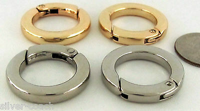 """Two 1.17"""" O.D. Gold / Nickel Quick-Release Flat Spring Gate Key Ring / EDC Clips"""