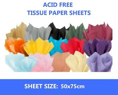 Luxury Tissue Paper 18GMS Acid Free - 100 Large Sheets 50x75cms - Select Colour