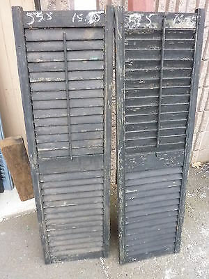 PaiR antique victorian louvered house window SHUTTERS BLACK 53.5 x 15.5 x 1 3/16