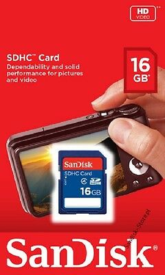 SanDisk 16GB 16G SD SDHC Secure digital Card for Camera PDA C4 Class 4 Retail