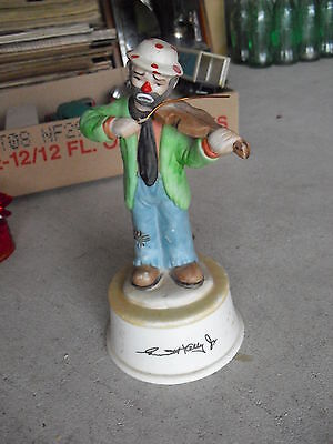"Vintage Flambro Porcelain Emmitt Kelly Jr Clown Music Box 7 1/2"" Tall"