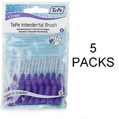 TePe Interdental Brushes 1.1mm Purple - 5 pack of 8 Brushes - Fast, Free Ship