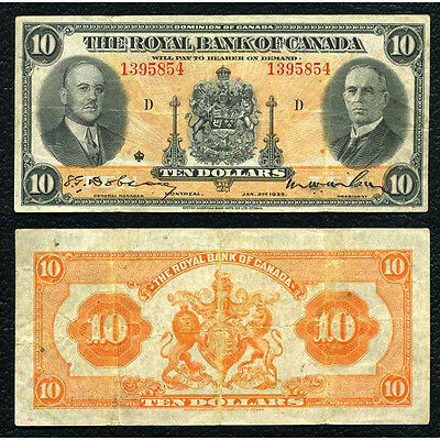 Royal Bank Of Canada 1.2.1935 10 Dollars Fine