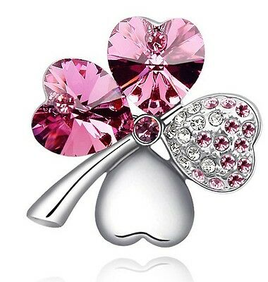 Bridal Small 4 Leaves Clover Pink Hearts Love Crystal Silver Pin Brooches BR85