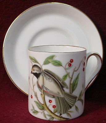 ROYAL TUSCAN china AUDUBON BIRDS Demitasse Cup & Saucer Set CHICKADEE
