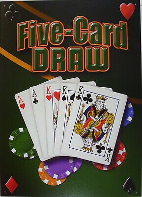 Poker Five Card Draw Blechschild Flach Neu aus USA 30x43cm S1742