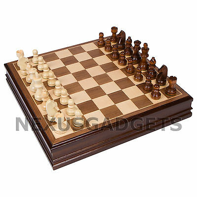 Chess Board Game Set 15 INCH WALNUT FINISH Inlaid Wood Storage Wooden Pieces NEW