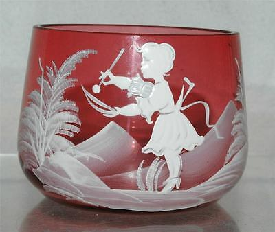 Mary Gregory Pink Cranberry Sugar Bowl Girl Antique Signed