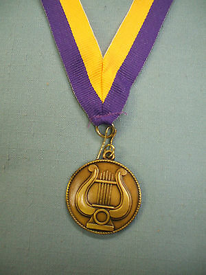 MUSIC lyre medal award purple and gold neck drape FREE lettering