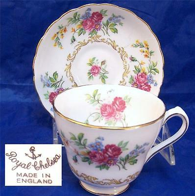 Royal Chelsea 3710a Tall Cup and Saucer Set Multiples Available