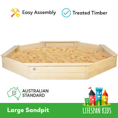 Lifespan New Kids Sand Pit Large Octagonal Wooden Sandpit Play Toy Outdoor
