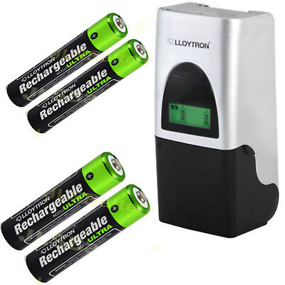 Compact Battery Charger with  2 AA  & 2 AAA Ni-Mh Batteries