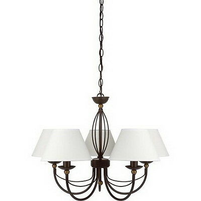 Bronze With Dark Antique Brass Accents 5 Light Chandelier With Shades