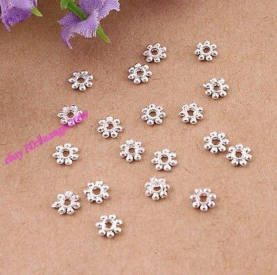 Lot 1000 Pcs Silver Plated  Daisy Spacer Beads 4mm