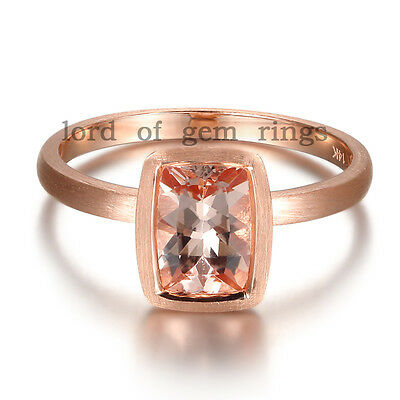 Cushion Cut 6x8mm Morganite Solid 14K Rose Gold Bezel Solitaire Engagement Ring