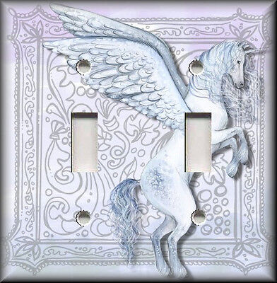 Metal Light Switch Plate Cover - Mystical Unicorn Home Decor Blue Purple Silver