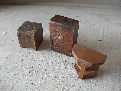 Lot of 3 Vintage Early 1900s Wood Dollhouse Furniture - Radio Endtable Shelf