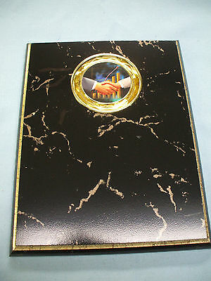 7 x 9  black and gold plaque salesman hand shake