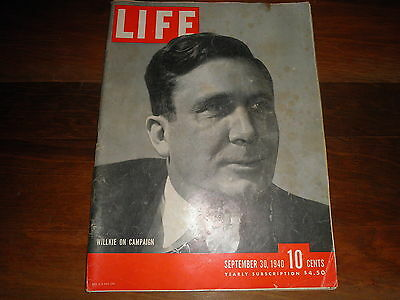 Vintage LIFE MAGAZINE 1940 September 30, The Draft, JAP PROPAGANDA, WWII, Ads