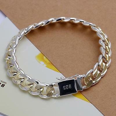 Fashion Solid Silver gold plated 10MM Men Women Chain Bracelet Jewelry hot