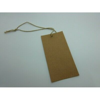 200 Brown Recycled large Swing Tags Strung with Cotton 50 mm x 100 mm