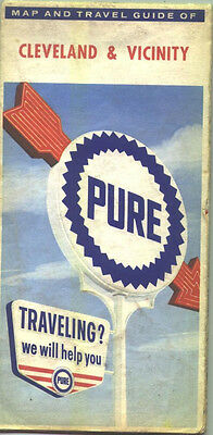 1962 Pure Oil Cleveland and Vicinity Vintage Road Map