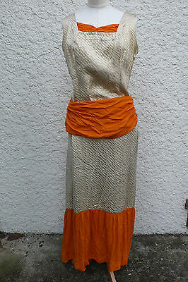 Ancien Costume - Superbe Robe De Bal Style 1900 - Lame Or - Drape Et Volants