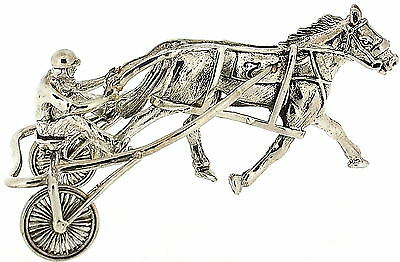 Solid Silver 925 Marked Miniature Model Of A Horse And Carriage And Driver