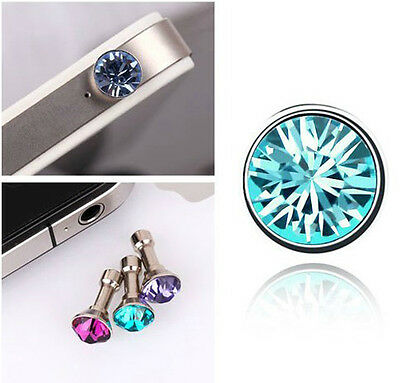 Austrian Crystal Round 3.5 mm Dust Earphone Plug For Mobile Phone iPhone IP4