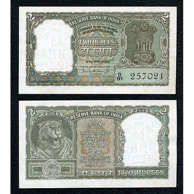 India P-31 sign. 75 ND(1962-67) 2 Rupees Crisp Uncirculated