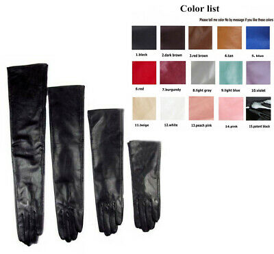 Custom made 30cm to 80cm long plain style evening real leather gloves 10 colors