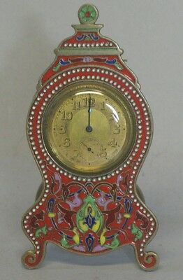 Antique French Champleve Enamel Travel Clock  Art Nouveau  c. 1890