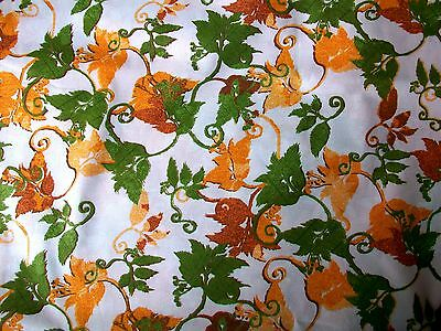 Fall Color Orange & Green Leaves On White Cotton Quilt Fabric