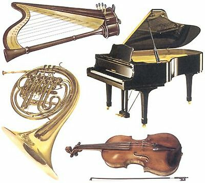 Piano Harp Violin Horn Instrument Select-A-Size Waterslide Ceramic Decals Hx