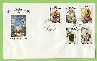 Zambia 1991 Soya Beans set on  First Day Cover