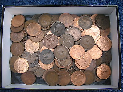100 Good Clean English Copper Pennies From King Geo-V - Geo-Vi And Qeii