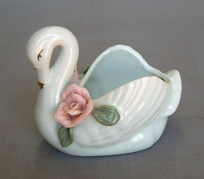 VTG PORCELAIN SWAN RING HOLDER w PINK APPLIED ROSES UNKNOWN ART POTTERY