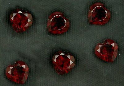 Two 5mm Heart Shaped Rich Red  Garnet Gem Stone Gemstone Natural Faceted