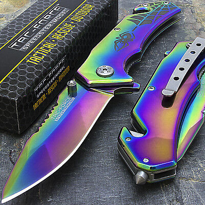 "8"" TAC FORCE RAINBOW SPIDER SPRING ASSISTED TACTICAL FOLDING POCKET KNIFE Blade"