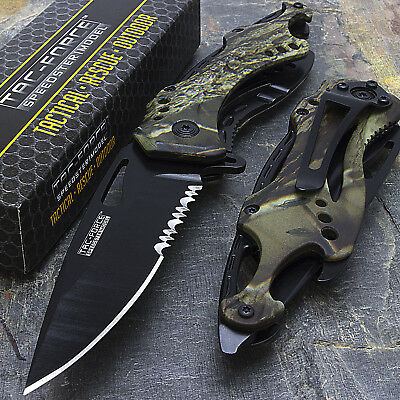 "8"" TAC FORCE GREEN CAMO SPRING ASSISTED TACTICAL FOLDING POCKET KNIFE Blade Open"