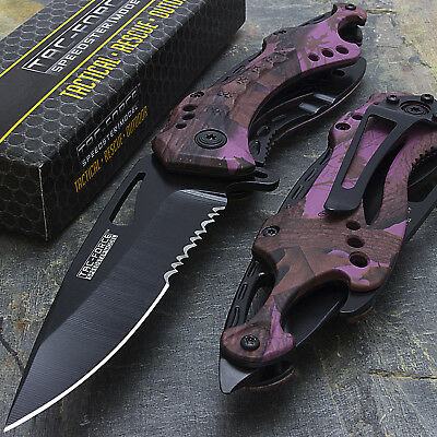 """8"""" TAC FORCE PURPLE CAMO SPRING ASSISTED TACTICAL FOLDING KNIFE Pocket Open"""